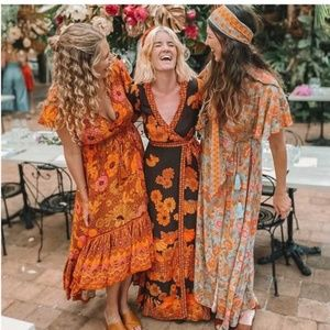 Boho chic floral print wrap maxi dress orange mint